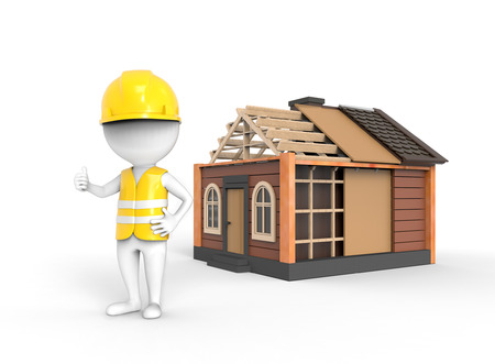 construction draftsman: 3D little white engineer stands near the house Stock Photo