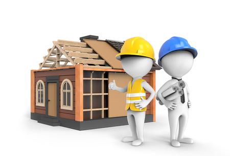 architect: Ingeniero 3D y un arquitecto de pie en la casa bajo construcción