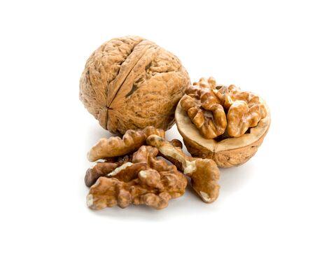 Open walnut isolated on white photo