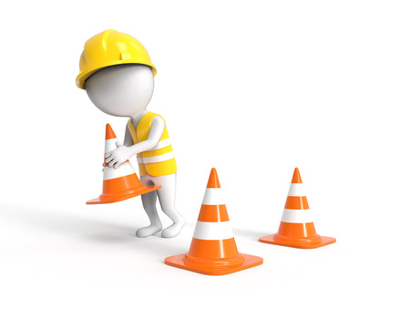 3D white littke worker in helmet with construction cones photo