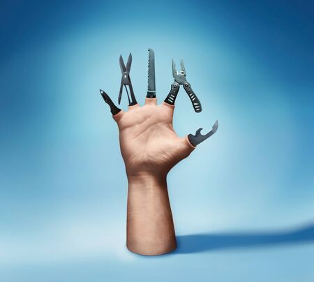 pocket knife: Human hand with various tool instead of fingers