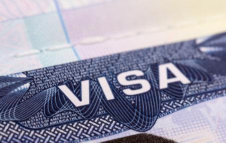 パスポートのクローズ アップの米国ビザ