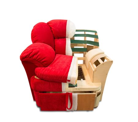 dissection: Dissection of the modern red comfortable armchair Stock Photo