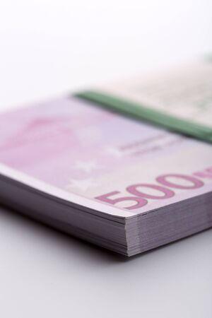 Pack of euros. Macro view Stock Photo
