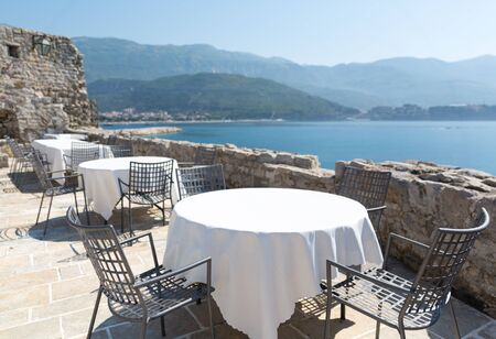 Sea view terrace of the luxury hotel of Montenegro with mountain view