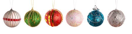 christmas bulbs: Christmas balls in a row isolated on white background Stock Photo