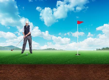 caddie: Businessman playing golf in open air