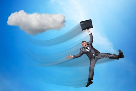 a situation alone: Businessman is falling in the sky