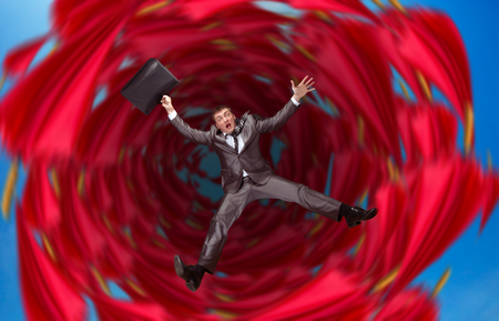 a situation alone: Businessman falls into abyss over red
