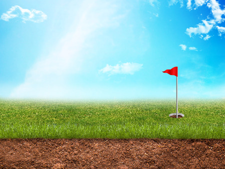 caddie: Golf hole with a red flag in grass