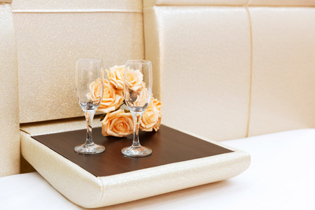 marriageable: Close up of two glasses and flowers Stock Photo