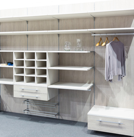 interior space: Modern white wooden dressing room