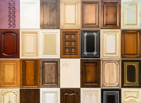 view of a wooden doorway: Set of decorative furniture wooden doors