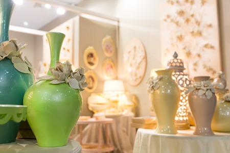 oxblood: Ceramic vases in vintage interior Stock Photo