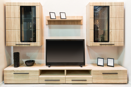 Modern wooden furniture with TV set