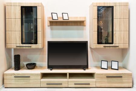 antique furniture: Modern wooden furniture with TV set