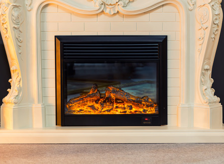 stone fireplace: Modern electric fireplace. Closeup view