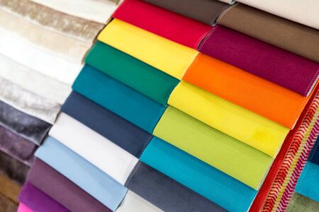 exemplary: Multicolored samples of different fabrics