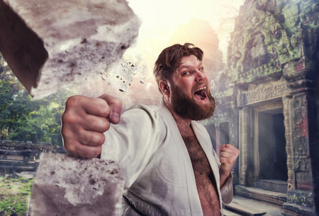 karateka: Strong karateka breaks a brick against ancient town Stock Photo