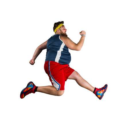 Fat sportsman running over white background