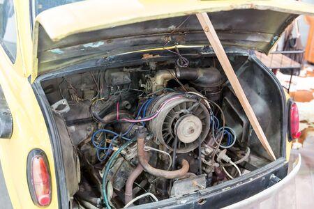 Old car engine close up photo