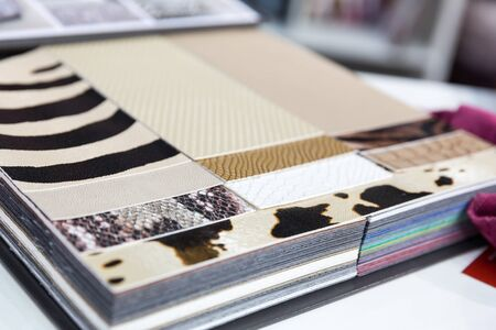exemplary: Multicolored samples of various leathers Stock Photo