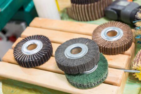 platen: Many grinding circles close up