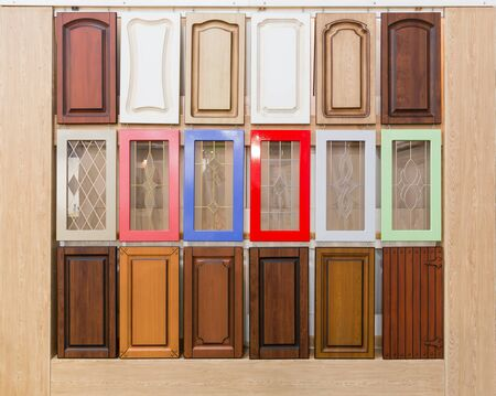 view of a wooden doorway: Set of lots of various wooden doors Stock Photo