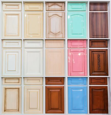 view of a wooden doorway: Set of lots of different pastel wooden doors Stock Photo