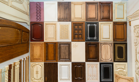 view of a wooden doorway: Set of various wooden doors Stock Photo