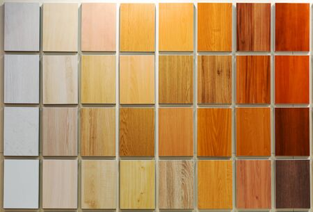 samples: Various wooden panels samples background Stock Photo