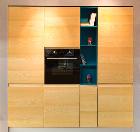 built in: Wooden kitchen furniture with an oven built in Stock Photo