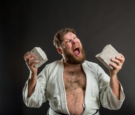 karateka: Strong karateka breaks a brick over grey Stock Photo