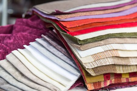 exemplary: Multicolored samples of various fabrics