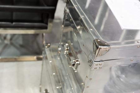 metal box: Edge of a modern metal box Stock Photo