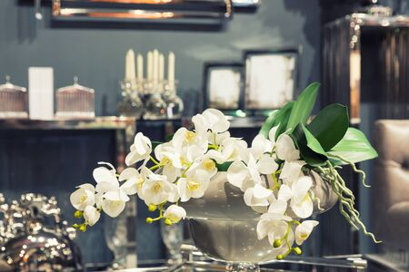indoor plants: Bouquet of white flowers stands on the table in the room Stock Photo