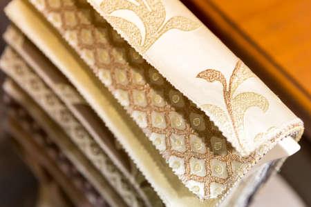 exemplary: Various samples of textile closeup Stock Photo