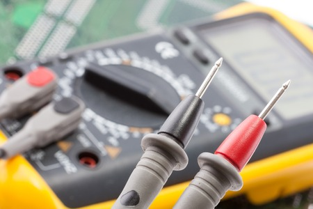 voltmeter: Closeup of probes of the multimeter Stock Photo