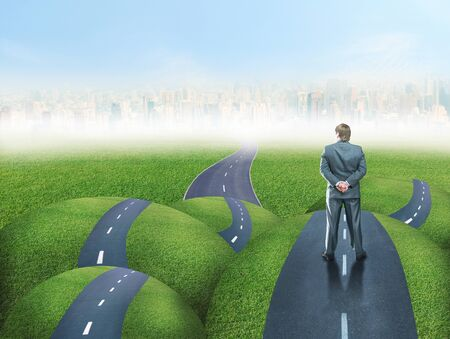 fork in the road: Businessman standing back on grass hills road fork