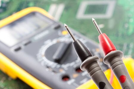 voltmeter: Closeup view of probes of the multimeter