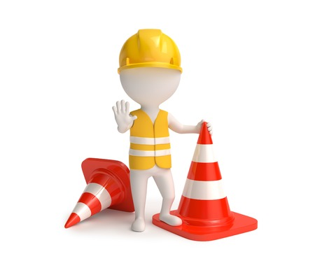 manual work: White little worker in helmet with red traffic-cones