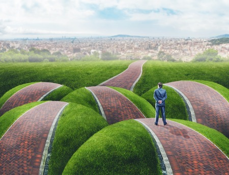 back roads: Businessman standing on grass hills road fork