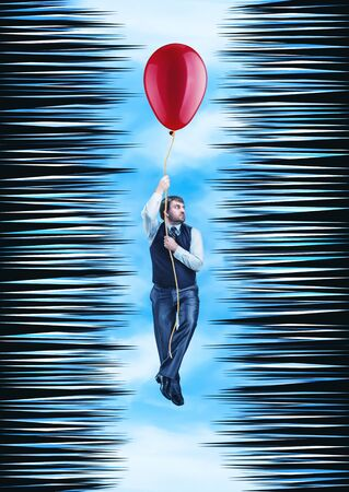 thorny: Businessman hanging on the rope with a big ballon in a thorny tunnel against sky