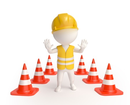 White little worker in helmet with red traffic-cones showing stop sign