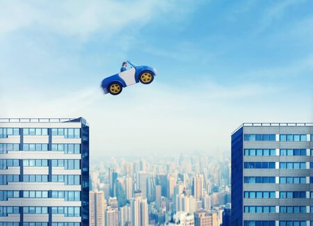 odd jobs: Businessman driving car jumping between two high buildings