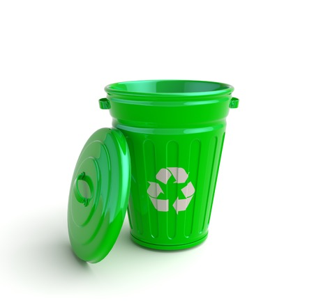 garbage can: Green recycle garbage can isolated in white