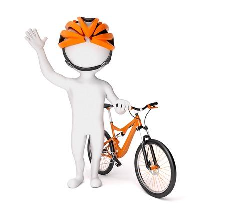 3d little man in helmet standing near the bike over white