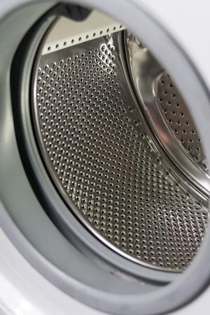 launderette: Closeup of washing machine drum