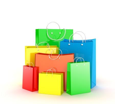 Set van veelkleurige boodschappentassen over wit Stockfoto