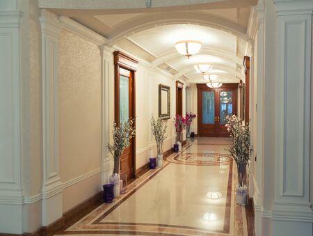 splendour: Novi Petrivtsi, Ukraine - May 27, 2015 Mezhigirya residence of ex-president of Ukraine Yanukovich. Close-up of luxurious modern hall Editorial